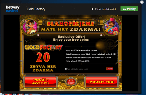 Betway - 20 Free spinů na GoldFactory
