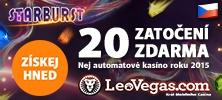 20 her zdarma na online výherní automat Starburst v online kasinu LeoVegas