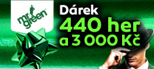 Dárek od kasina Mr Green - 440 zatočení na automaty zdarma a 3 000 Kč bonus
