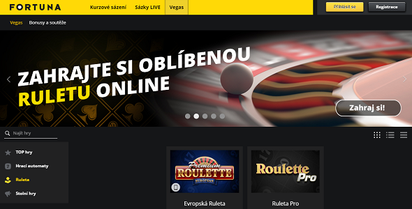 Online ruleta ve Fortuna casinu