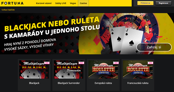 Fortuna spouští casino s blackjackem a ruletou!